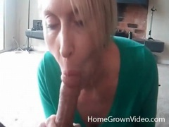 Blonde milf sucks dick with her titties out videos