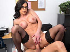 Glasses and stockings on cock rider clip