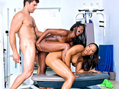 Threesome fuck with fit black girls videos