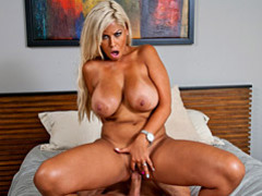 Bronzed blond milf bridgette rides cock videos