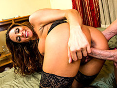 Busty mommy in stockings fucked movies at lingerie-mania.com