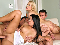 Curvy bitches in hot foursome videos