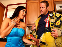 Wife in sexy dress blows fireman videos