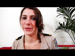 Brunette chick in police attire giving a good bj movies at kilosex.com