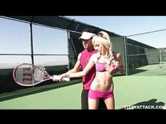 Busty blonde morgan layne getting her pussy fingered and fucked after her tennis lesson movies at freekilosex.com