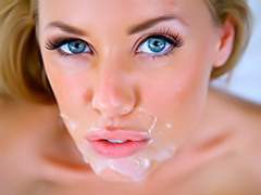 Super pretty blonde gets facial videos