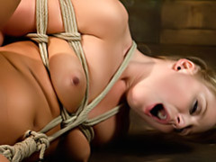 Girl suffers in bondage movies at lingerie-mania.com
