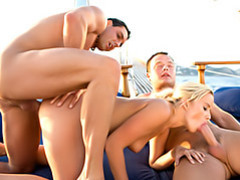 Threesome on a boat videos