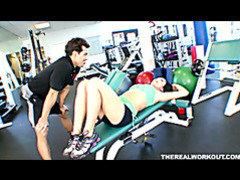 Busty babe melissa riding her fitness trainers cock at the gym tubes