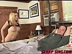 Blonde babe fucks sleeping guy videos