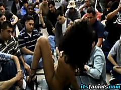 Horny ebony babe takes on messy bukkake videos