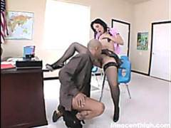 Sensual brunette vixen welcomes her teachers meat ruler into her warm wet snatch movies at freekilosex.com