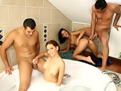 Hot bathroom foursome movies at kilosex.com