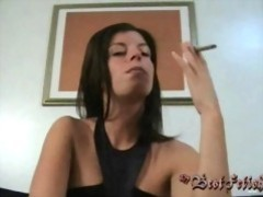 Stroking on cock while smoking movies