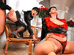 Satin laced foursome movies at find-best-lingerie.com