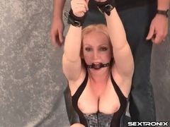 Bound and gagged milf in tight corset movies at sgirls.net