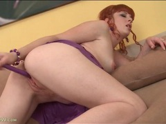 Mom with gorgeous red hair fucks a dildo tubes