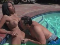 Naked busty babe gets her tits sucked in the pool movies at sgirls.net