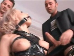Dirty whore bound by tape sucks three cocks videos