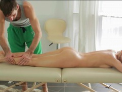 Massage for beautiful blonde with tight body movies at lingerie-mania.com