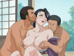 Anime hottie in kimono fucked in threesome movies at freekiloporn.com