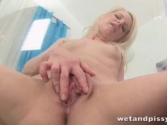 Shaved blonde licks her piss like a naughty girl videos