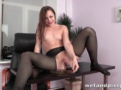 Slippery girl in ripped pantyhose masturbates movies at kilovideos.com