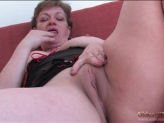 Chubby grandma in lingerie masturbates pussy movies at freelingerie.us