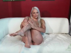 Blonde macy cartel erotic tease in her underwear movies at lingerie-mania.com