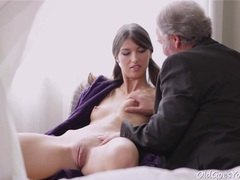 Kira sucked on old dude's cock tubes