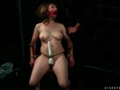 Sub slut in his dungeon sucks cock clip