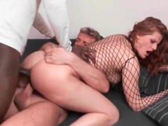 Sultry redhead double penetrated by big cocks movies at lingerie-mania.com