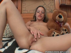 Teen hugs her teddy bear and masturbates clip