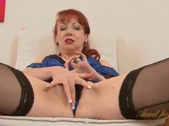 Classy redheaded milf in tight dress and stockings videos