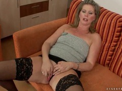 Hot milf in tube top and stockings fucks toy videos