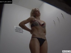 Young czech girl fitting bra and panties in lingerie store movies