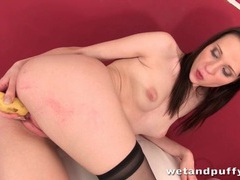 Banana fucked deep into her fresh wet pussy movies at find-best-lesbians.com