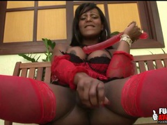 Black shemale pornstar in stockings fucks a toy videos