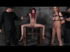 Gagged and bound redhead moans through toy play movies at freelingerie.us