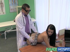 Fake hospital stiff neck followed by a big stiff cock as fucked on doctors desk movies at sgirls.net