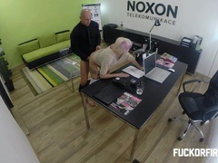 Slutty blonde fucking to keep her job movies at sgirls.net