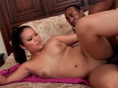 Tight shaved asian pussy fucked by black cock tubes at sgirls.net