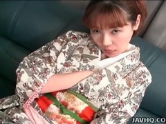 Young japanese girl in kimono teases her hot pussy tubes at japanese.sgirls.net