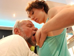 Hairy young pussy banging an old man! movies at kilosex.com