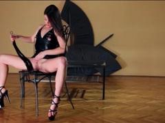 Slim brunette in tight leather dress masturbates movies at find-best-babes.com