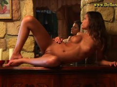 Tanned teen brunette models black lingerie movies at lingerie-mania.com