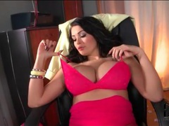 Pink lingerie and lipstick looks hot on brunette movies at sgirls.net