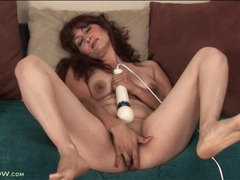 Mature with her legs open fucks a dildo movies at lingerie-mania.com