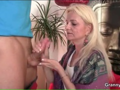 Granny gives a handjob and gets him hard movies at adipics.com