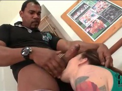 Sporty tattooed girl sucks his big black cock movies at kilopics.net